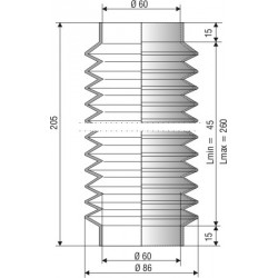 1207 NBR Soufflet NBR D 60mm Lmin 52mm Lmax 260 mm