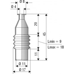1011 NBR Soufflet D 4mm et D 11mm NBR L min 9mm Lmax 18mm