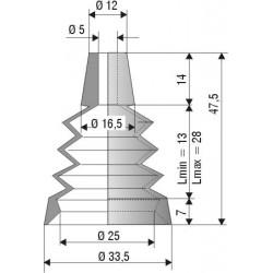 1042 NBR Soufflet D 5mm et D 25mm NBR L.min 13mm L.max 28mm