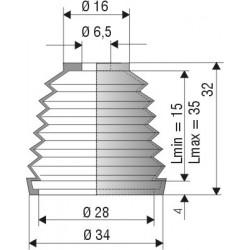 1101 NBR Soufflet D 6.5mm et D28mm NBR Lmin 15 Lmax 35