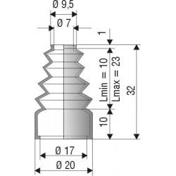 1022 NBR Soufflet D 7mm et 17mm NBR Lmin 10 Lmax 23