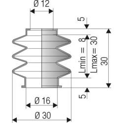1010 NBR Soufflet D 12mm et D 16mm NBR Lmin 8 Lmax 30