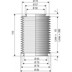 1055 NBR Soufflet D 50mm et D 63mm en NBR L. min 43mm L. max 300 mm