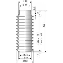 1072 NBR Soufflet D 34mm NBR Lmin 38 Lmax 165