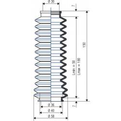 3039 NBR Soufflet D 30mm et D 36mm NBR L.min 50 mm L.max 180mm