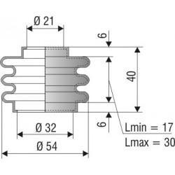 1053 NBR Soufflet D 21mm et D 32 mm NBR L.min 17 Lmax 30
