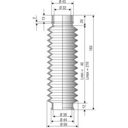 Soufflet D 32mm et D 38 mm NBR L.min 40 Lmax 210 Réf 1058 NBR
