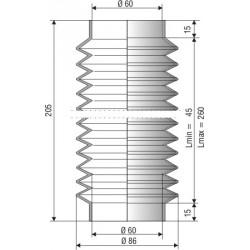 Soufflet D 60mm Lmin 52mm Lmax 260 mm Réf 1207 NBR