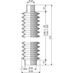 1150 NBR Soufflet D 20mm et D 32 mm NBR L.min 65 Lmax 250
