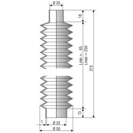 Soufflet D 20mm et D 32 mm Lmin 65 Lmax 250 Réf 1150 NBR