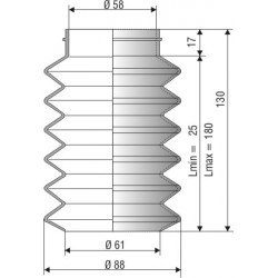 Soufflet D 58 mm et D 61mm Lmin 25 Lmax 180 Réf 1021 NBR