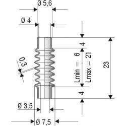 2070 NBR Soufflet D 4mm NBR L.min 6mm L.max 21mm