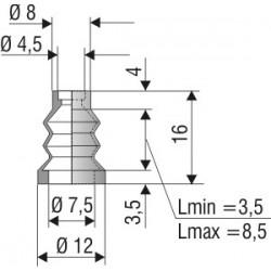 1035 NBR Soufflet D 4,5mm et 7,5mm Long 3,5 à 8,5 mm