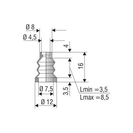 1035 NBR Soufflet D 4,5mm et D7,5mm en NBR Lmin 3,5 Lmax 8,5