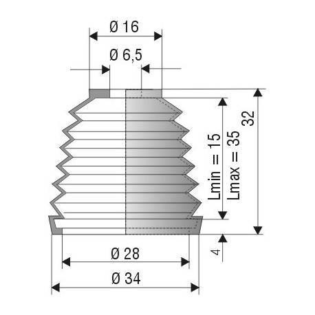 Soufflet D 6.5mm et D 28mm Lmin 15 Lmax 35 Réf 1101 NBR