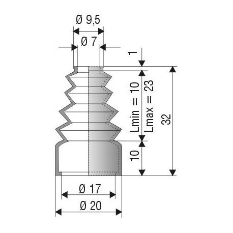 Soufflet D 7mm et 17mm Lmin 10 Lmax 23 Réf 1022 NBR