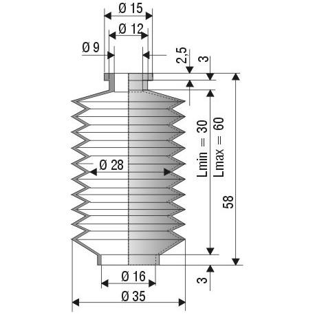 Soufflet D 9mm et D 16mm Lmin 30mm Lmax 60mm Réf 1130 NBR