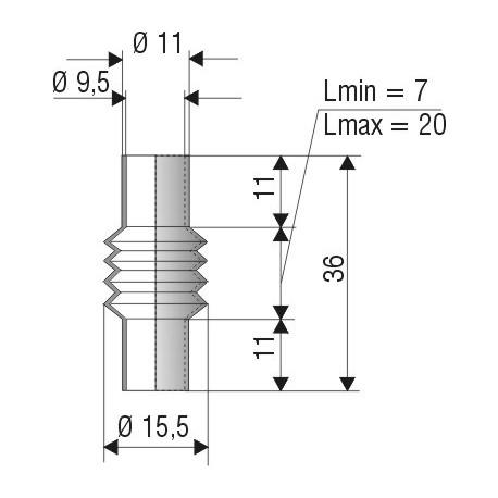 1185 NBR Soufflet D 9.5mm NBR L.min 7 L.max 20