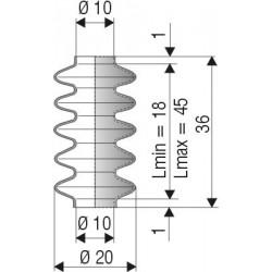 Soufflet D 10mm Lmin 18 Lmax 45 Rédf 1044 NBR