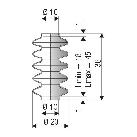 1044 NBR Soufflet D 10mm NBR Lmin 18 Lmax 45