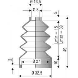 1143 NBR Soufflet D 8mm et D 27mm NBR L. min 15mm L. max 39mm