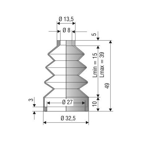 Soufflet D 8mm et D 27mm L. min 15mm L. max 39mm Réf 1143 NBR