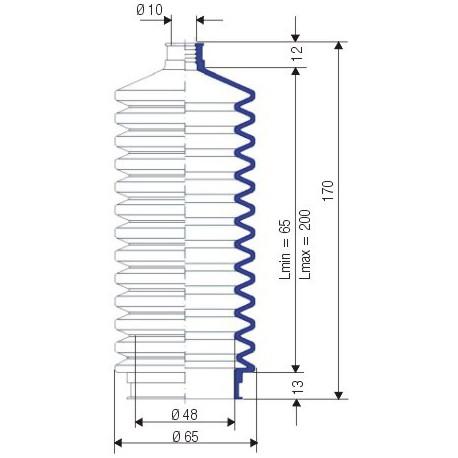 Soufflet D 10mm et D 48mm Lmin 65 Lmax 200 Réf 3024 NBR
