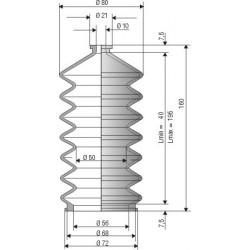 2107 CR Soufflet D 10mm et D 56 mm CR (Néoprène) L.min 40mm L.max 195 mm