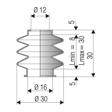 Soufflet connexions 12 mm et 16 mm Long 8 à 30 mm