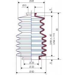 3040 NBR Soufflet D 13mm et D 29mm Lmin 40mm Lmax 110mm