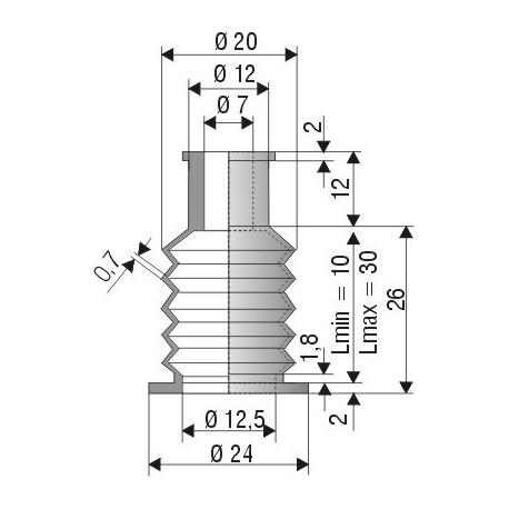Soufflet D 7mm et D 12,5mm Lmin 10mm Lmax 30mm Réf 2104 NBR