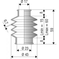 Soufflet D 17mm et D 23mm Lmin 15mm Lmax 60mm Réf 1177 NBR