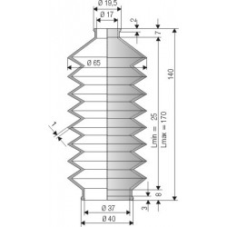 Soufflet D 17mm et D 37mm Lmin 25mm Lmax 170mm Réf 1241 NBR