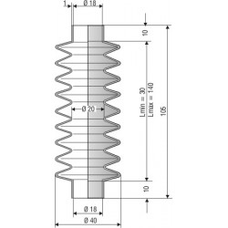 2084 NBR Soufflet D 18mm Long 30 à 140mm