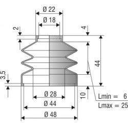 1144 NBR Soufflet D 18mm et D 44 mm NBR L.min 6 Lmax 25