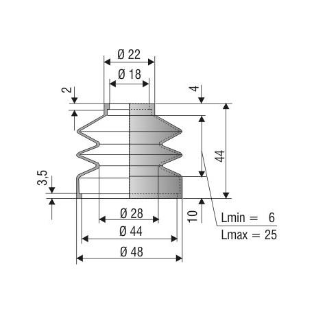 Soufflet D 18mm et D 44 mm Lmin 6 Lmax 25 Réf 1144 NBR