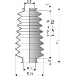 Soufflet D 21mm et D 30mm NBR L.min36 Lmax 120 Réf 1018 NBR