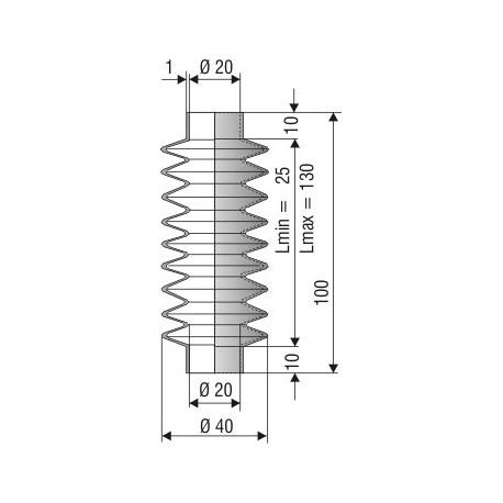 1149 SI Soufflet SILICONE noir D 20mm Lmin 25 Lmax 130