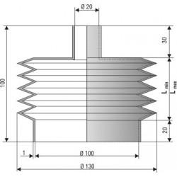 1212 NBR Soufflet D 20mm et 100 mm Long 18 à 100 mm