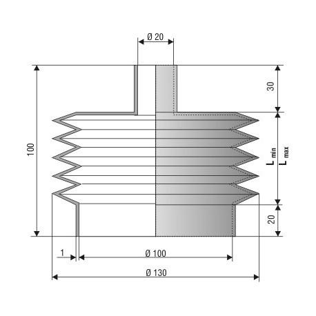 1212 NBR Soufflet D 20mm et D 100 mm NBR L.min 18 Lmax 100