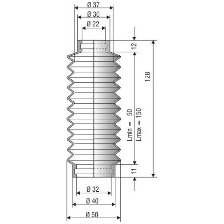 Soufflet D 22mm et D 32mm NBR L.min 50 L.max 150 Réf 1175 NBR