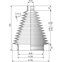 Soufflet D 23mm et D 95mm Lmin 60 Lmax 250 Réf 1017 NBR