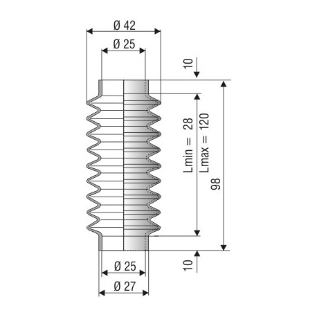1215 NBR Soufflet D25mm NBR Lmin 28mm Lmax 120mm