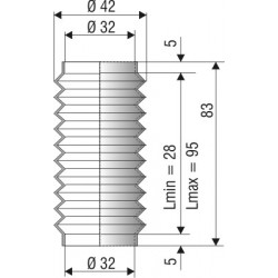 1119 NBR Soufflet D32mm NBR Lmin 28mm Lmax 95mm