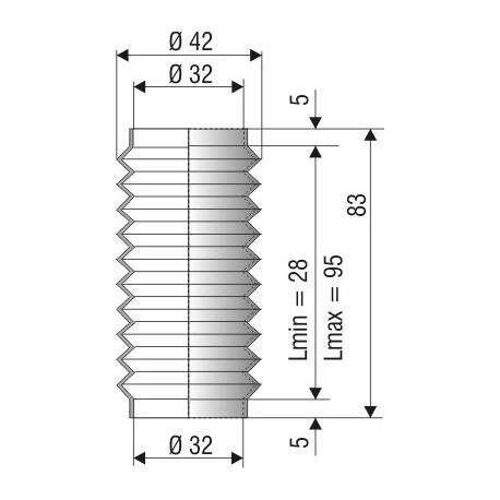 Soufflet D 32mm Lmin 28mm Lmax 95mm réf 1119 NBR