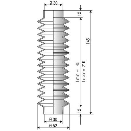 1210 NBR Soufflet D30mm NBR Lmin 40mm Lmax 220mm