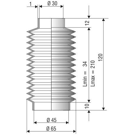 Soufflet D 30mm et D 45mm NBR L. min 34mm L. max 210mm Réf 1103 NBR