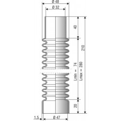 Soufflet D 32mm et D 47mm Lmin 74mm Lmax 280mm Réf 1115 NBR