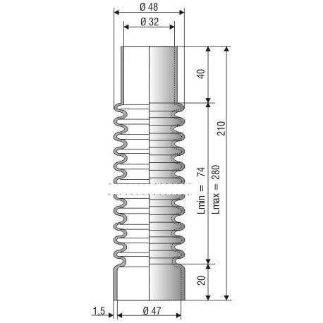 1115 NBR Soufflet D32mm D47mm NBR Lmin 74mm Lmax 280mm