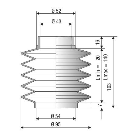 1083 NBR Soufflet NBR D 43mm et D 54mm Lmin15mm Lmax 65mm